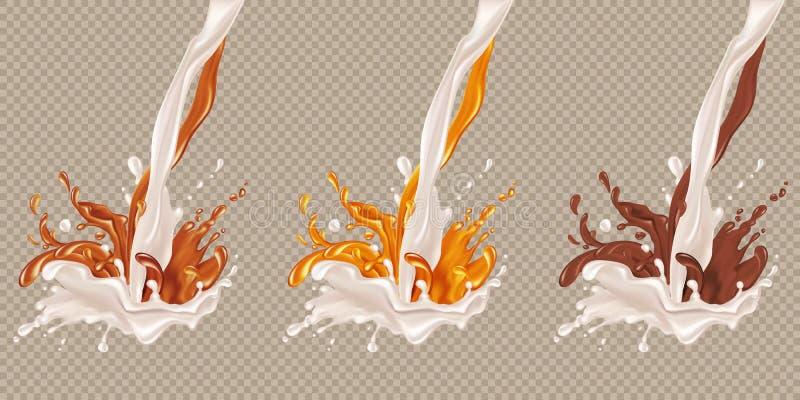 Écoulement de lait et de chocolat illustration de vecteur