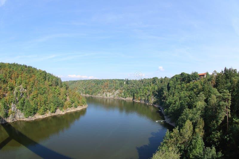 Écoulement de rivière de Vltava, barrage de Slapy, République Tchèque images libres de droits