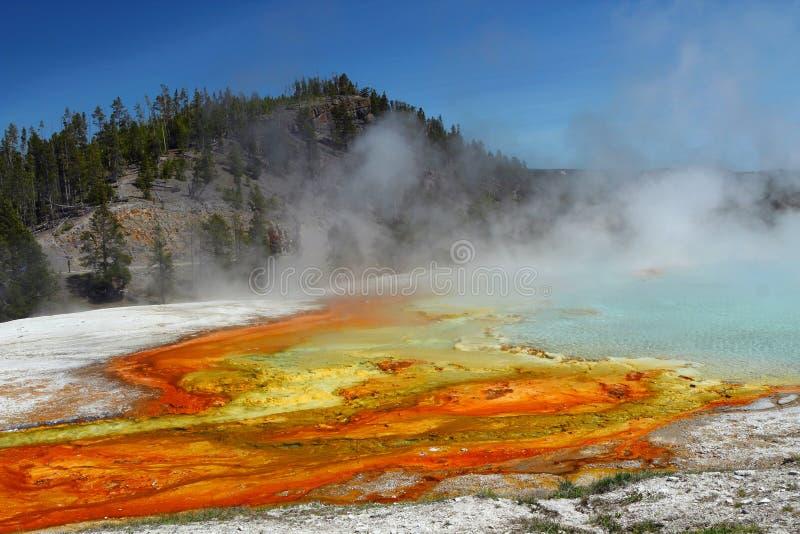 Écoulement excelsior de geyser, bassin intermédiaire de geyser, parc national de Yellowstone, Wyoming photographie stock