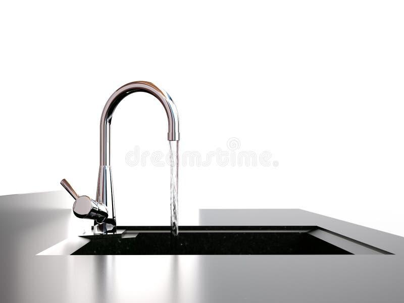 Écoulements d'eau du robinet à descendre images libres de droits