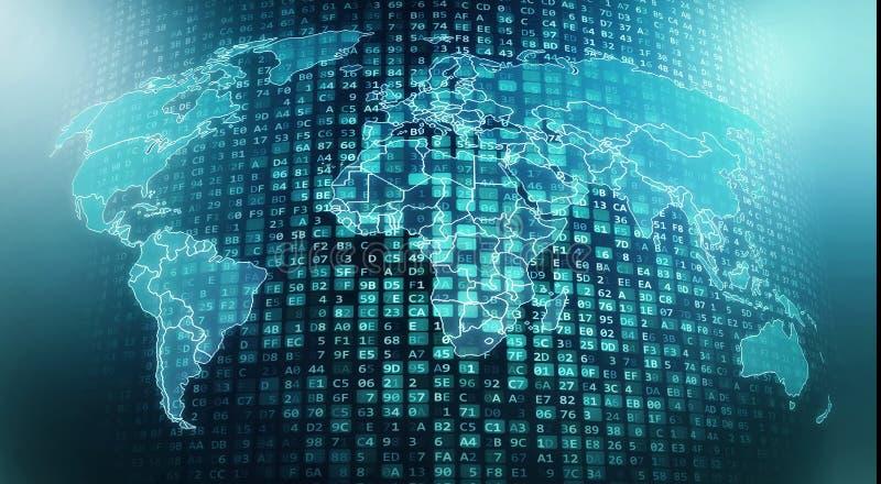 Écoulements et traitement globaux mondiaux de données numériques d'Internet illustration libre de droits
