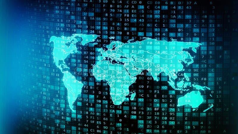 Écoulements et traitement globaux mondiaux de données numériques d'Internet illustration stock