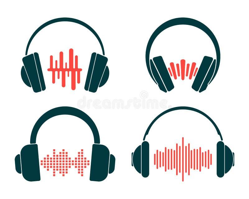 Écouteur avec l'onde sonore d'isolement sur le fond blanc Placez de l'icône d'écouteurs illustration libre de droits