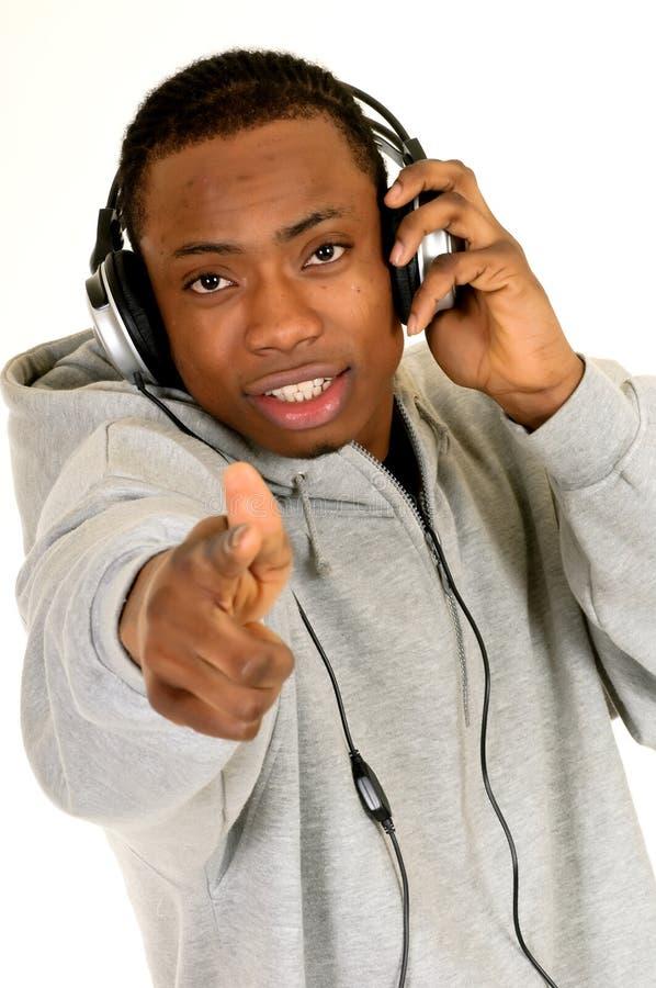 Écouteur d'Afro-américain image libre de droits