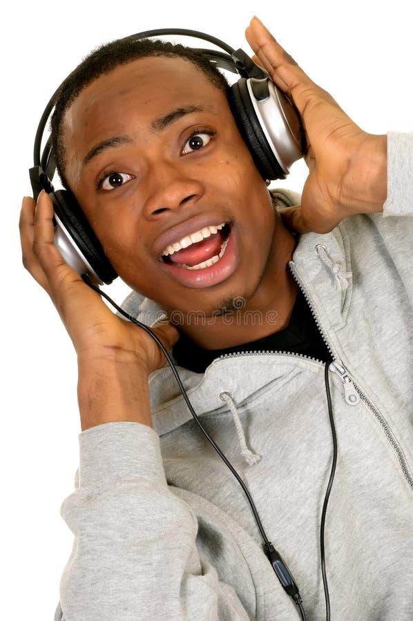 Écouteur d'Afro-américain photographie stock