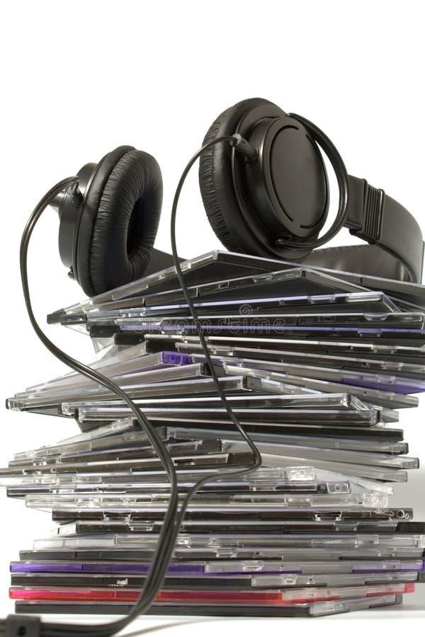 Écouteur et collection cd photographie stock libre de droits