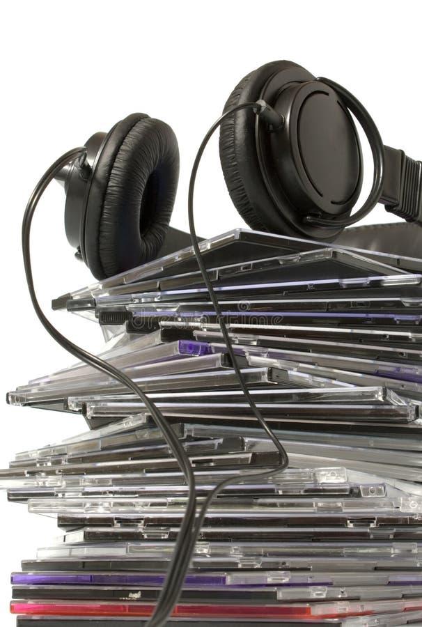 Écouteur et collection cd images stock