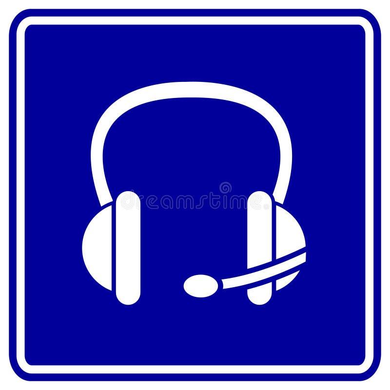 Écouteur ou écouteurs de vecteur avec le signe de microphone illustration libre de droits
