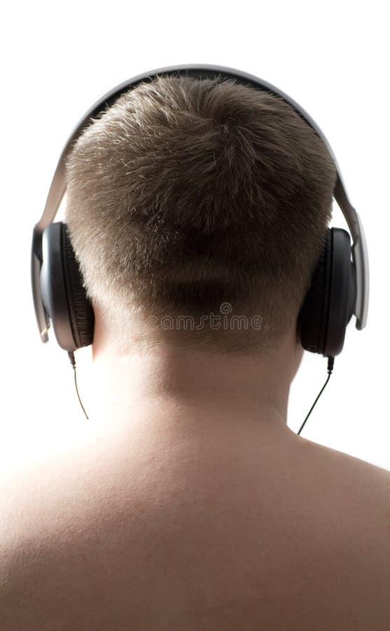 Écouteur s'usant d'homme. image libre de droits