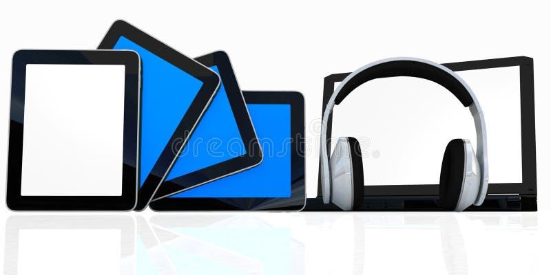 Écouteurs à l'ordinateur portatif et aux téléphones illustration de vecteur