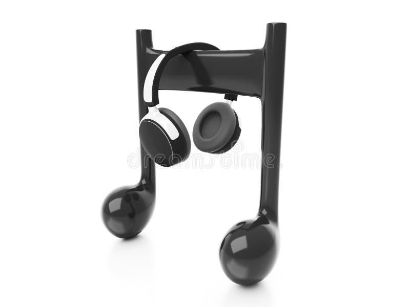 écouteurs 3d et note illustration de vecteur
