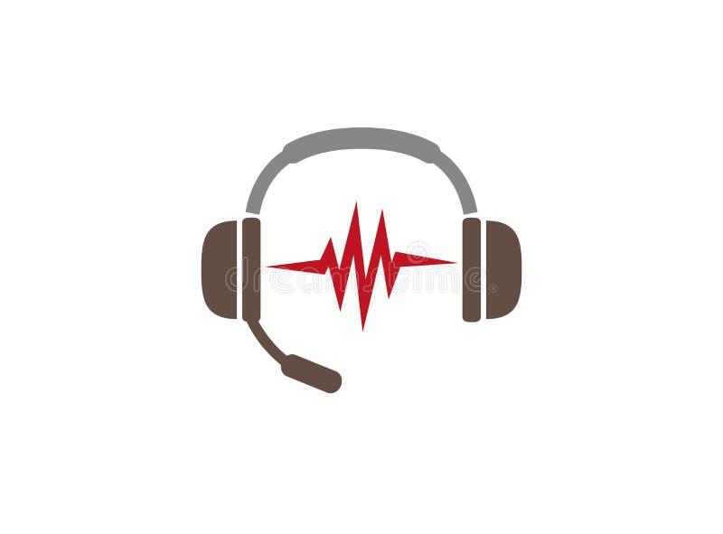 Écouteurs avec des battements de microphone et de coeur pour le logo illustration libre de droits