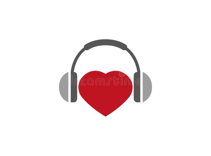 Écouteurs avec l'und Herz de Kopfhörer de coeur pour le logo illustration stock