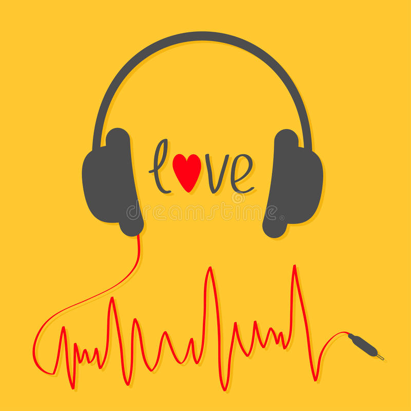 Écouteurs avec la corde rouge dans la forme du trackline de cardiogramme Carte d'amour Icône de musique Coeur noir des textes Fon illustration stock