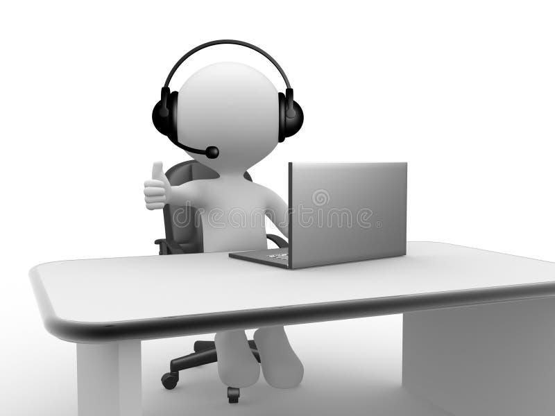 Écouteurs avec le microphone et l'ordinateur portable. illustration stock