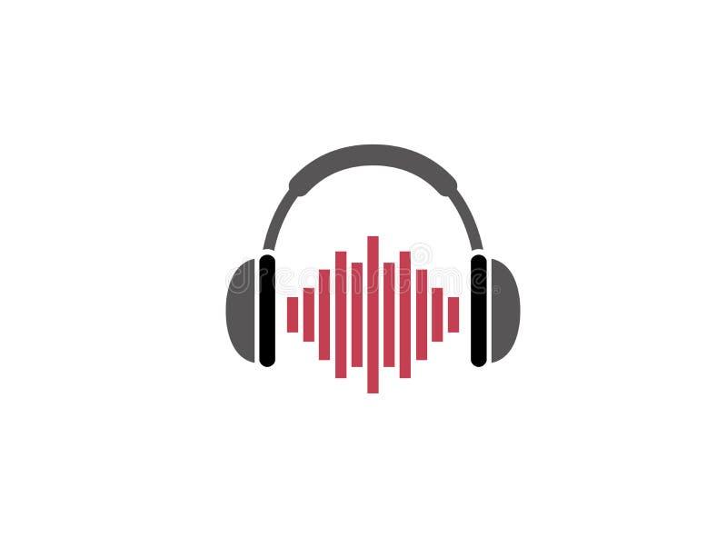 Écouteurs avec le rythme battant un casque pour le logo illustration libre de droits