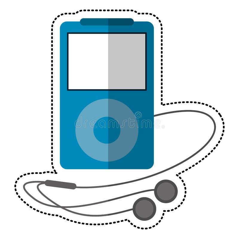écouteurs bleus de lecteur mp3 illustration libre de droits