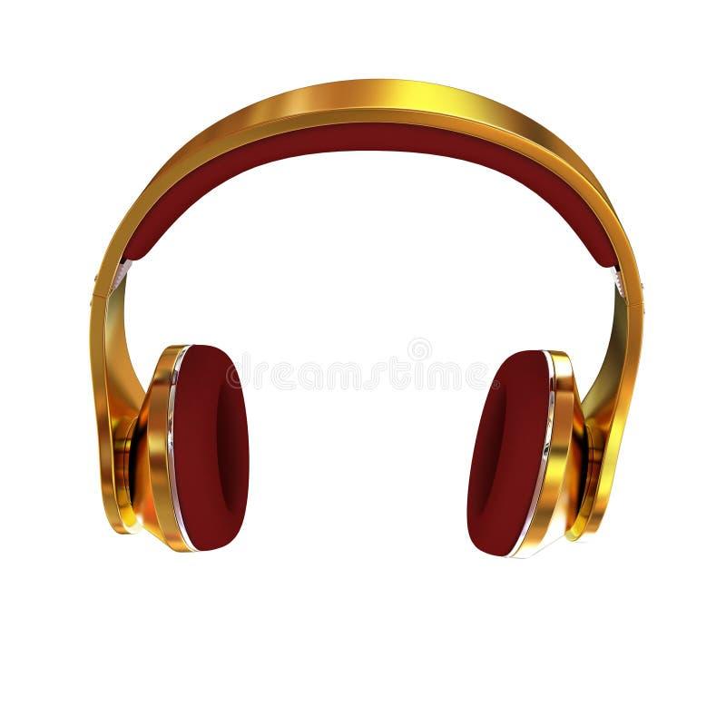 écouteurs 3d d'or illustration stock