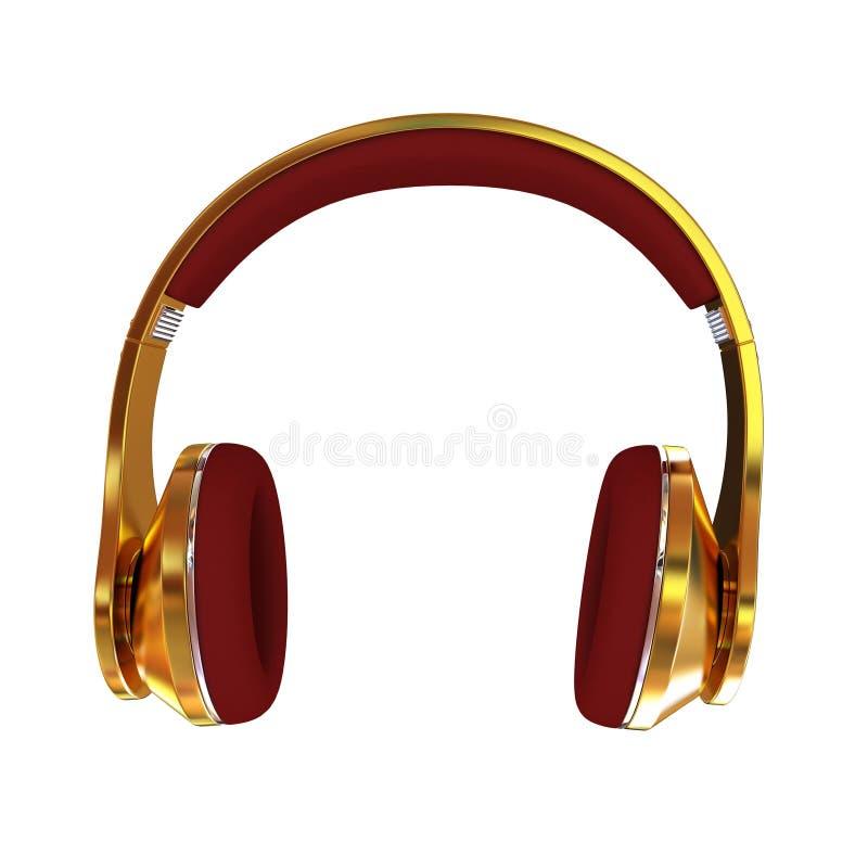 écouteurs 3d d'or illustration libre de droits