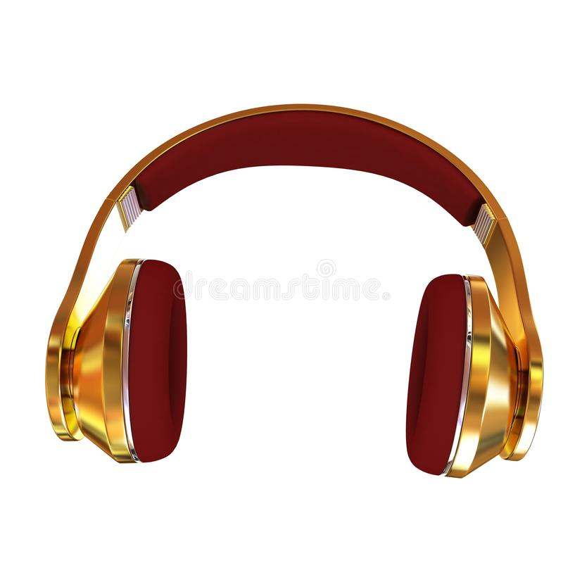 écouteurs 3d d'or illustration de vecteur