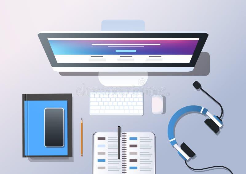 Écouteurs de consultation de smartphone d'ordinateur de bureau de vue d'angle supérieur de concept de service de support de techn illustration de vecteur