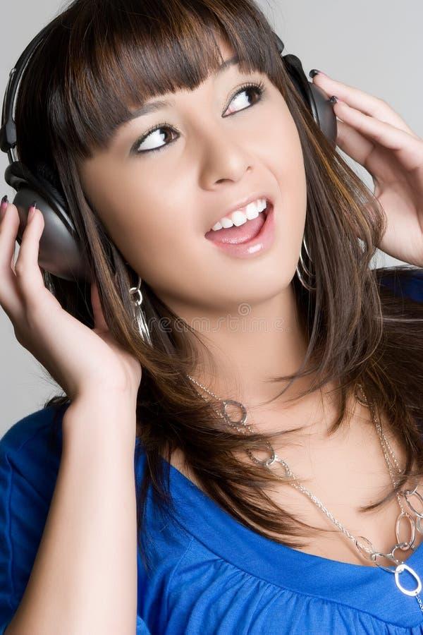 écouteurs de fille images libres de droits