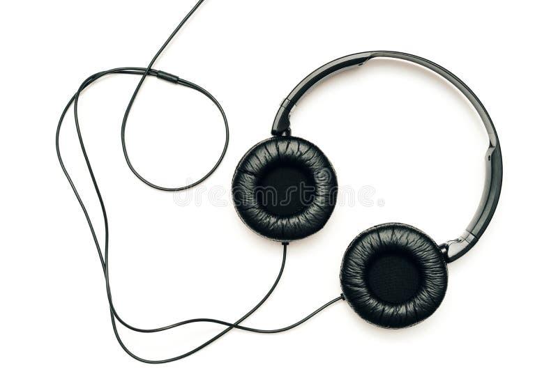 écouteurs de fond blancs photographie stock