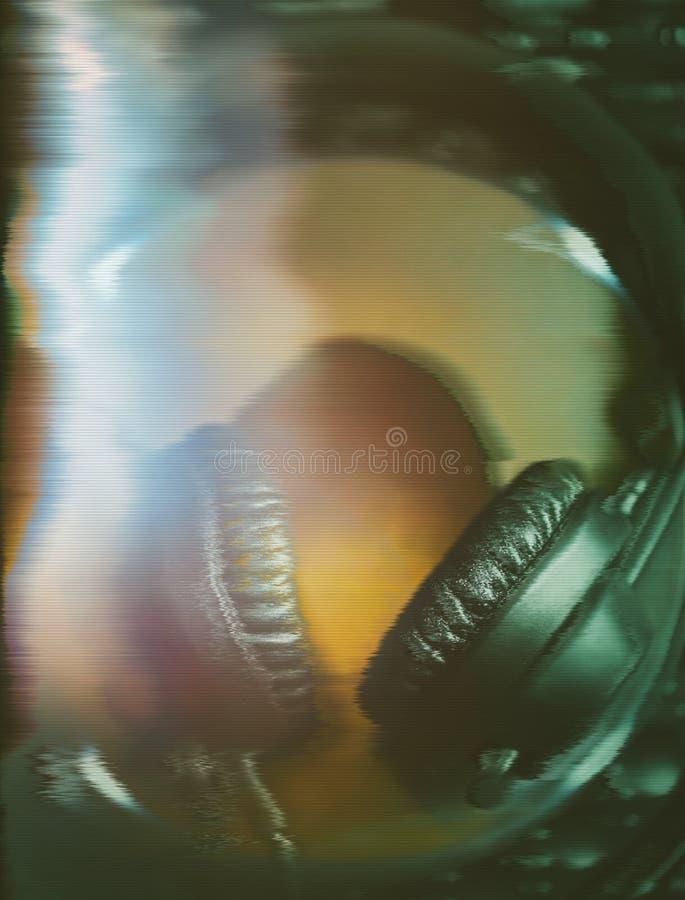Écouteurs du DJ sur le lecteur de musique CD images libres de droits