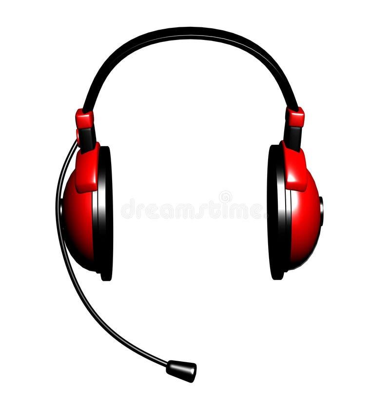 écouteurs du rouge 3d illustration de vecteur