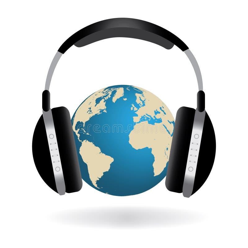 Écouteurs et globe illustration de vecteur