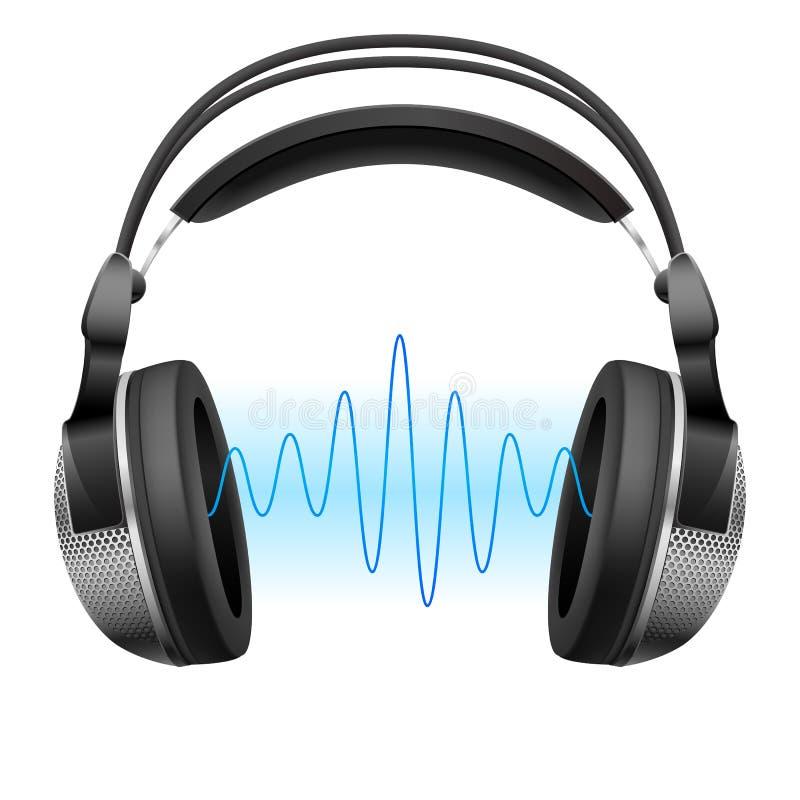 Écouteurs et onde de musique. illustration stock