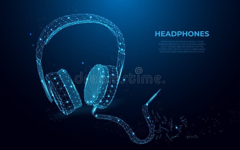 écouteurs Image abstraite d'écouteurs sous forme de ciel ou d'espace étoilé, concept de wireframe Style polygonal illustration stock