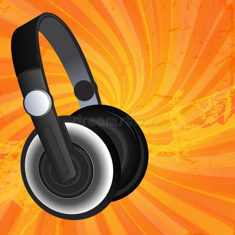 Écouteurs noirs sur le fond grunge illustration stock