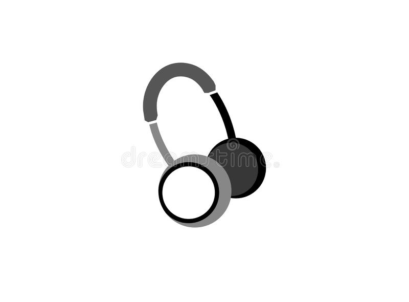 Écouteurs ou casque pour l'illustration de conception de logo illustration de vecteur