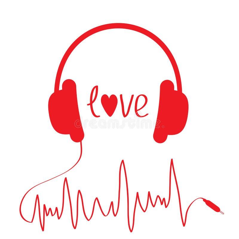 Écouteurs rouges avec la corde dans la forme du cardiogramme.  illustration libre de droits