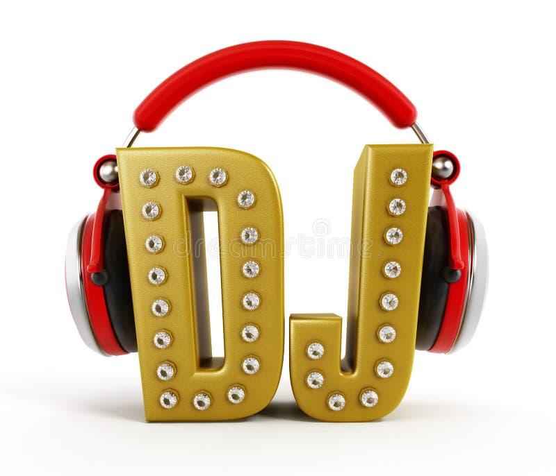 Écouteurs rouges sur le mot du DJ d'or illustration de vecteur