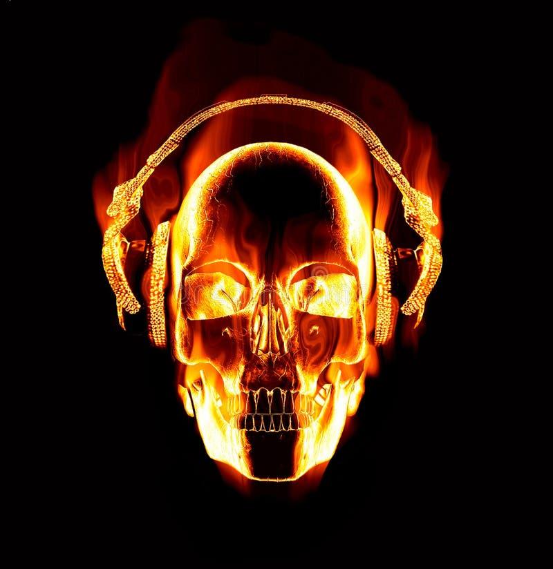 Écouteurs s'usants de crâne flamboyant illustration stock