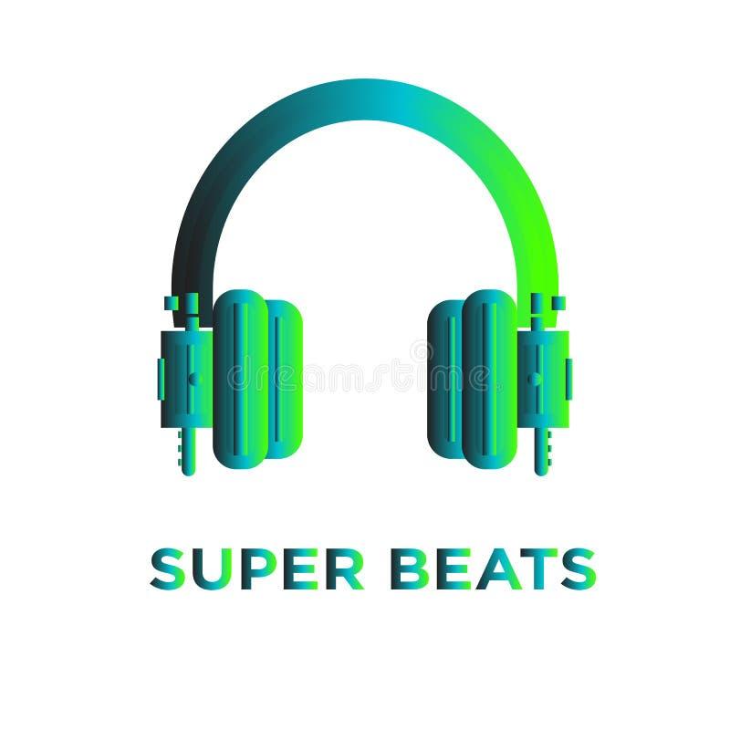 Écouteurs superbes de battements avec la couleur de gradient illustration de vecteur