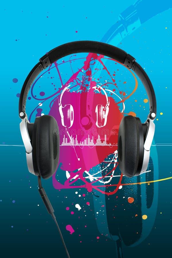 Écouteurs sur le bleu illustration libre de droits