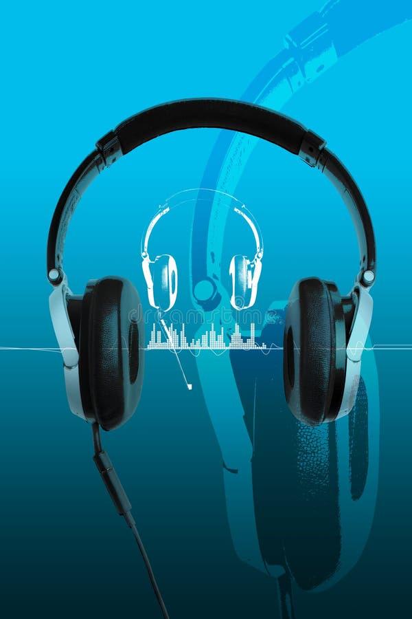 Écouteurs sur le bleu illustration de vecteur