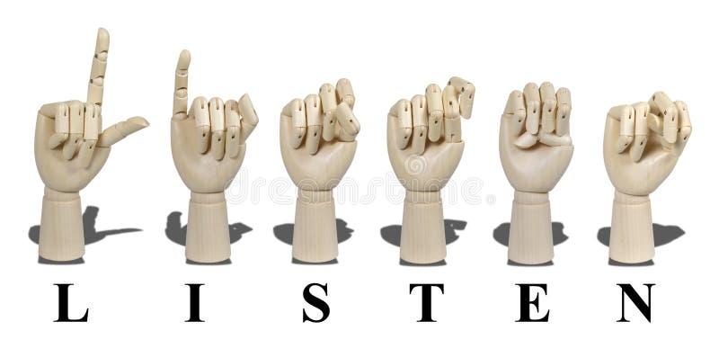 Écoutez écrit en langage de signe - lettre image libre de droits