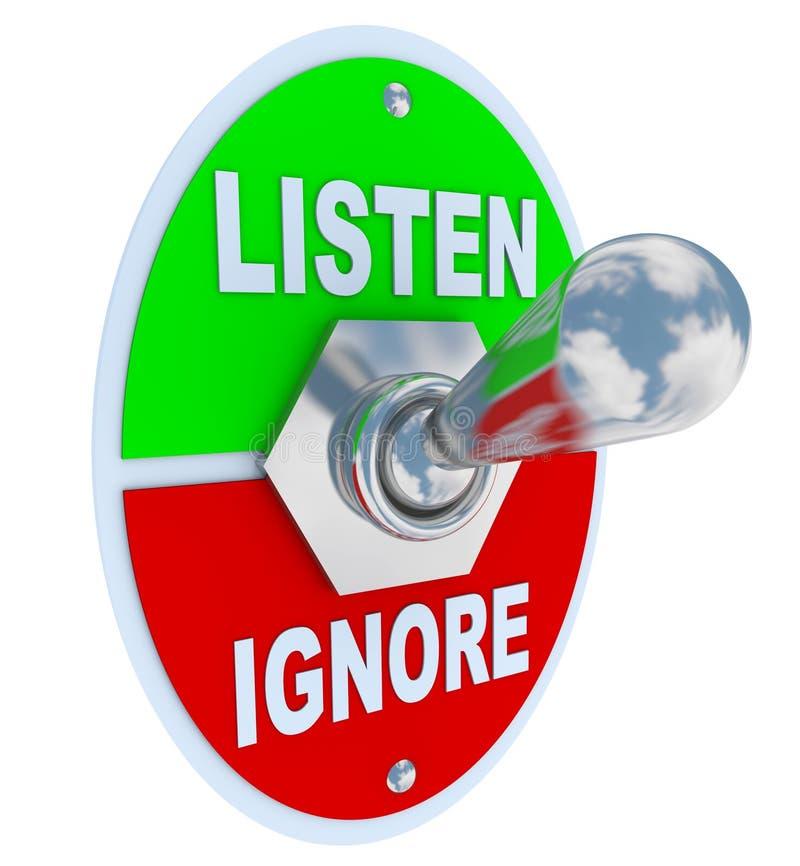 Écoutez contre ignorent - l'interrupteur à bascule illustration de vecteur