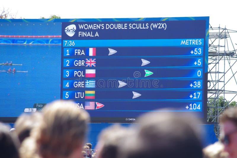 Écran à l'aviron Rio2016 photos libres de droits