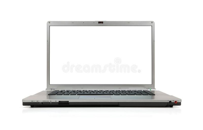 écran blanc d'ordinateur portatif images libres de droits