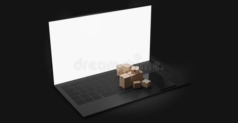Écran blanc d'un carnet avec des paquets en tant que concept de achat en ligne 3d-illustration de la livraison illustration de vecteur
