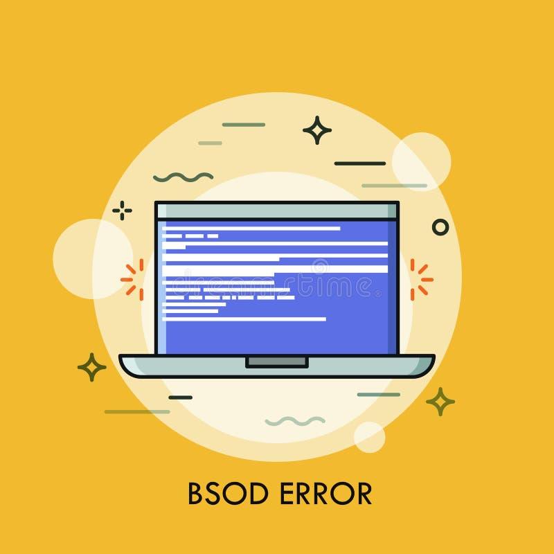 Écran bleu de la mort montré sur l'ordinateur portable Concept d'erreur bloquante, échec du système d'exploitation, accident de n illustration de vecteur