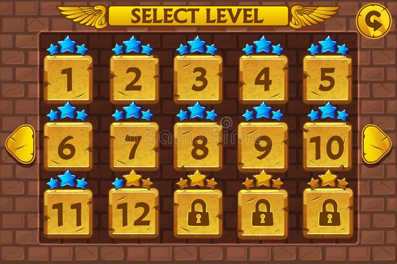 Écran choisi de niveau égyptien de style Ensemble du jeu UI illustration de vecteur