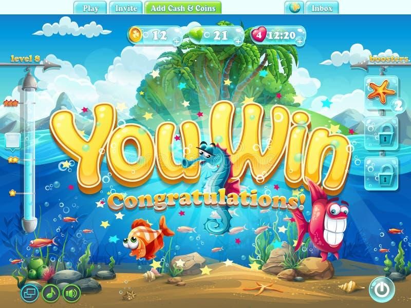 Écran d'exemple du monde de poissons que vous avez gagné illustration de vecteur