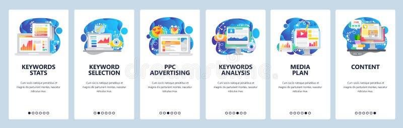 Écran d'intégration d'application mobile Marketing numérique, statistiques sur les mots clés, publicité en ligne, médias, analyse illustration de vecteur
