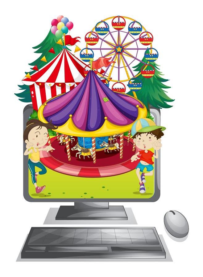 Écran d'ordinateur avec des enfants au carnaval illustration de vecteur
